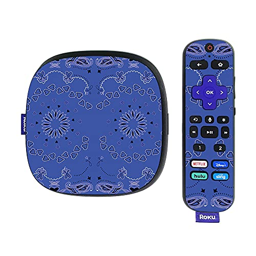 MightySkins Skin Compatible with Roku Ultra HDR 4K Streaming Media Player (2020) - Blue Bandana   Protective, Durable, and Unique Vinyl Decal wrap Cover   Easy to Apply and Change Styles   Made in th