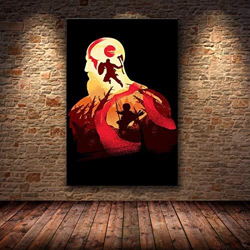 Yiwuyishi God of War HD Figure Game Posters y Lienzo Impreso Pintura Wall Art Pictures Decoración del hogar para la decoración de la Sala de Estar 50x70cm P-992