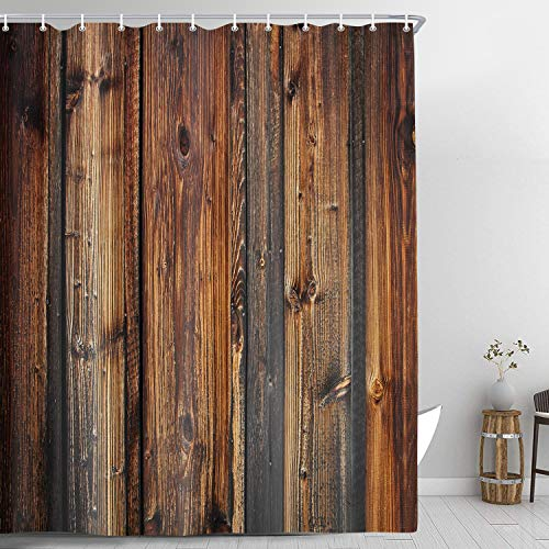 Wood Shower Curtain, Rustic Country Style Wooden Board Dark Brown Shower Curtains, Western Barnwood Farmhouse Decor Fabric Bathroom Curtain Sets with Hooks, 69x70 Inches
