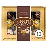 Ferrero Rocher Collection, Fine Hazelnut Milk Chocolates, 12 Count, Assorted Coconut Candy and Chocolate Gift Box, 4.6 Oz