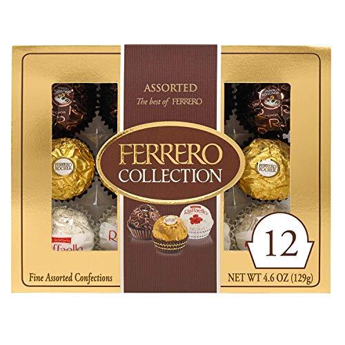 Ferrero Rocher Collection, Fine Hazelnut Milk Chocolates, 12 Count, Valentine's Day Gift Box, Assorted Coconut Candy and Chocolates, 4.6 oz