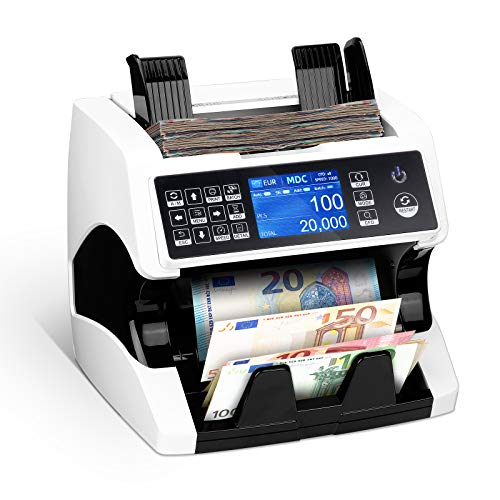 MUNBYN Compteur de billets à grande vitesse - Compteur de monnaie pour les billets non triés avec détection des faux billets - Vérification des billets-2 détection de contrefaçon CIS UV MG MT IR