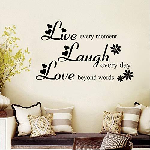 Lbonb Liebe Über Worte Lachen Jeden Tag Leben Jeden Moment Inspirierende Zitate Vinyl Abnehmbare Wandaufkleber Wohnzimmer Wohnkultur 37 * 60 Cm