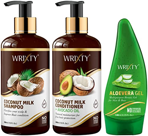 Wrixty Coconut Milk Shampoo (300ml), Coconut Milk Conditioner (300ml) and Pure Aloe Vera Gel (130ml) | Best Combo Kit | Smoother & Robust Hair | 3 Items in The Set