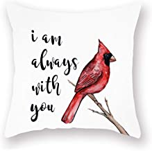 Xihomeli Throw Pillow Covers Red Bird with I am Always with You Quote Words Pillow Case Decorative Super Soft Animal Cardinals Farmhouse Pillow Cover 18x18 Inch for Sofa 18x18 Inch (Red Bird 01)