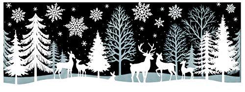 dpr. Fensterbild REH Hirsch Winter Wald Schnee Schneeflocken Weihnachten Fenstersticker Fensterdeko Weihnachtsdeko