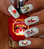 Guns N Roses clear waterslide nail art decals (tattoos). Set of 44 by One Stop Nails.