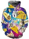 Loveternal 3D Kapuzenpullover Pizza Katze Hoodie Galaxy Pullover Langarmshirts Leichte Cat Sweatshirts mit Taschen M