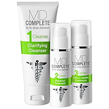 MD Complete 3-Step Acne Clearing System Step 1 Salicylic Acid 2.0% Cleanser Step 2 Benzoyl Peroxide 4.5% Breakout Treatment Step 3 Correct Retinol Citrus-C Healthy Complexion 60 Day Supply