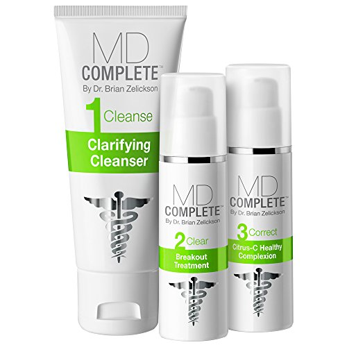 MD Complete 3-Step Acne Clearing System Step 1 Salicylic Acid 2.0% Cleanser, Step 2 Benzoyl Peroxide 4.5% Breakout Treatment, Step 3 Correct Retinol Citrus-C Healthy Complexion 60 Day Supply