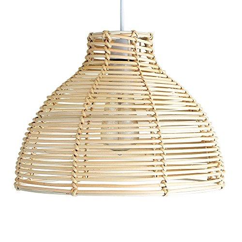 Modern Cream Wicker Rattan Basket Style Ceiling Pendant Light Shade