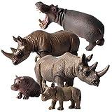 FLORMON Figuras de animales 5 piezas Realista Hipopótamo y rinoceronte Modelo de acción El plastico Animal salvaje Juguetes de fiesta favores Juguetes educativos de la granja forestal Regalo para niño