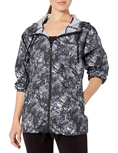 Columbia Flash Forward, Chaqueta cortavientos estampada, Mujer, Negro (Black Rubbed Texture), M
