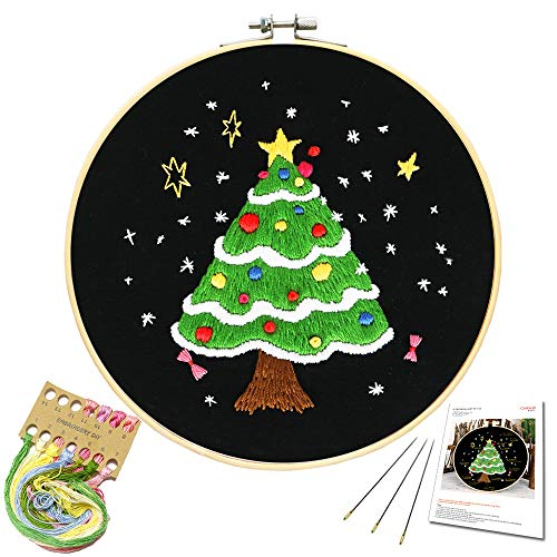 Embroidery Starter Kit with Christmas Tree Pattern and Instructions, Embroidery kit for Beginners, Full Range of Stamped Embroidery Kits