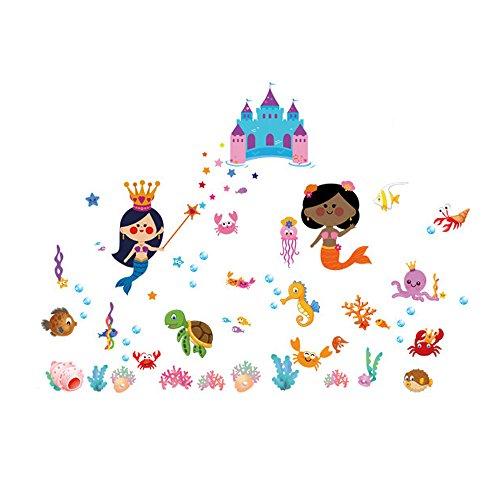 Winhappyhome Undersea World Fishes Castle Art Muraux Stickers pour Chambre à Coucher Salon Café-restaurante Décalcomanies Décor Amovibles