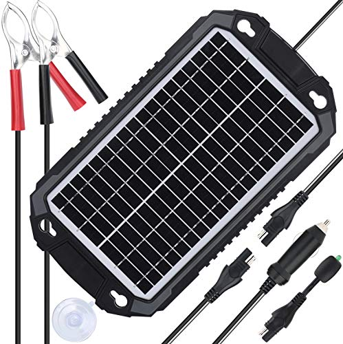 SUNER POWER 12V Solar Car Battery Charger & Maintainer - Waterproof 8W Solar Panel Trickle Charging Kit for Automotive, Motorcycle, Boat, Marine, RV, Trailer, Powersports, Snowmobile, etc.