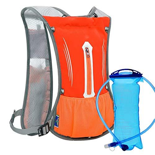 DZX Bike Backpack Hydration Water Bag, reflektierender Rucksack Rucksack Leichte Hydration Blase Tasche mit 2L Water Bag zum Radfahren Laufen Wandern Mountain (Orange)