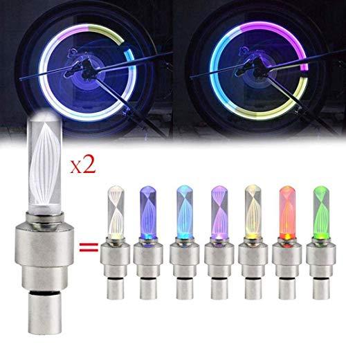 Guilty Gadgets 2 tapas de válvula de neumático de bicicleta multicolor para rueda de coche, luz LED de neón, luz de flash LED, luz de flash LED para válvula de neumático
