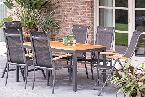 Hartman Esstischgruppe Alice, Tischgruppe mit 6 Stühlen in xerix/Natur, Gartengarnitur aus Aluminium Alu, Sitzgruppe mit Teak-Holz Elementen