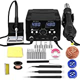 MYPOVOS 2 IN 1 750W LED Digital Soldering Station Hot Air Gun Rework Station Electric Soldering Iron For Phone PCB IC SMD BGA Welding SET 110V (8588D SET1)