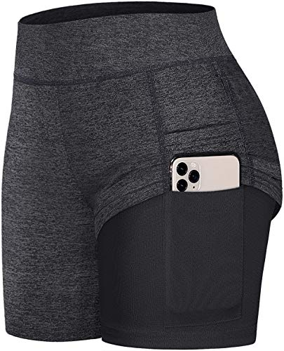 Fulbelle Biker Shorts for Women, Teen Girls Athletic Workout Running Yoga Short Pants Gym Tennis Comfy Double Layer Summer Casual Lounge Skirts with Pockets Mesh Sweat Clothes Black S