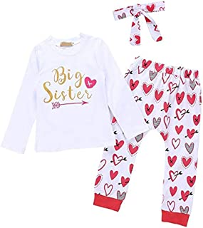 Little Big Sister Matching Outfits Top Shirt Pants Headband Clothes Set Family Match Photoshoot Party Heart Big Sister 3-4 Years
