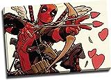 Aryago Deadpool - Lienzo decorativo (61 x 45 cm), diseño de superhéroes cómics Deadpool Cupido, decoración de sala de estar, dormitorio, arte estirado y listo para colgar