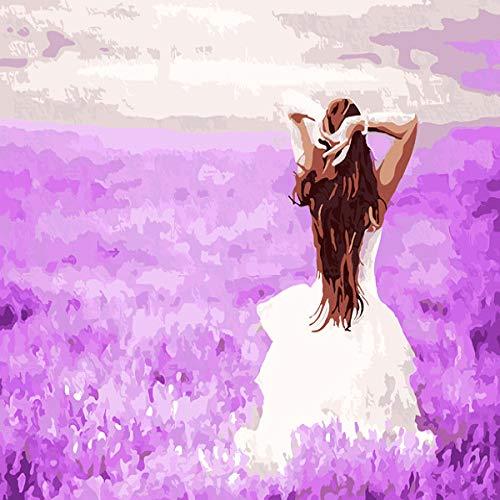baodanla (Sin Marco) Pintura al óleo Color Femenino Relleno Paisaje Hermoso Personaje Belleza Foto Posterior 1 1 50X70CM
