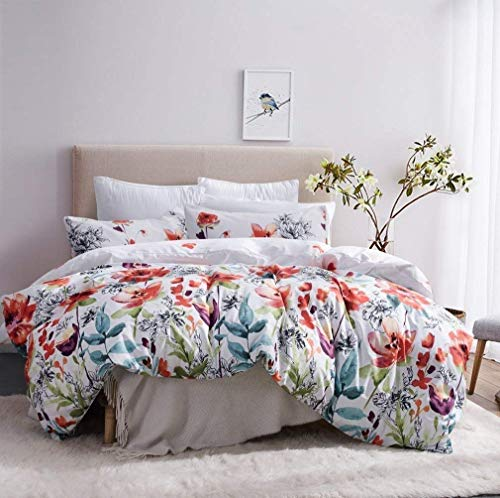 Leadtimes Duvet Cover Queen Bedding Floral Boho Duvet Cover Set Hotel Bedding Sets Comforter Cover with Soft Lightweight Microfiber 1 Duvet Cover and 2 Pillowcases (Queen, Style2)