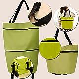 Kicode Women Large Folding Shopping Cart Basket Collapsible Trolley Dual Wheel Foldable Trolley Cart Luggage...
