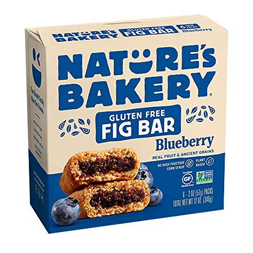 Nature's Bakery Gluten-Free Real Blueberry Fruit, Whole Grain Fig Bar: 1 Box (6 Bars)