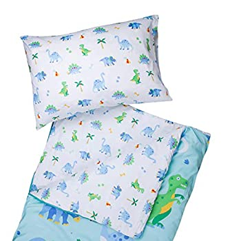 Wildkin Kids Microfiber Sleeping Bag for Boys and Girls Includes Pillow Case and Stuff Sack Perfect Size for Slumber Parties Camping and Overnight Travel BPA-free Olive Kids  Dinosaur Land