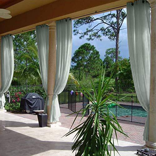 "cololeaf Indoor Outdoor Sheer Curtain for Patio| Porch| Gazebo| Pergola | Cabana | Dock| Beach Home| Backyard| Country| Garden| Wedding - Nickle Grommet - Grey 52"" W x 84"" L (1 Panel)"
