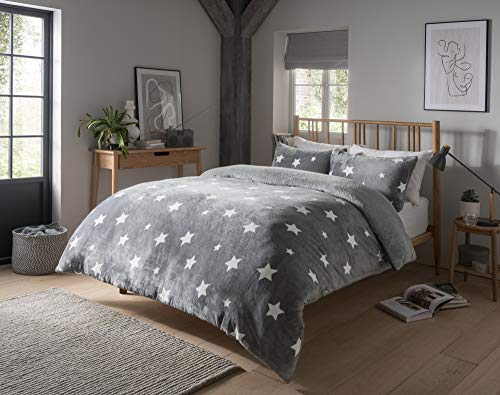 MAASS Soft Wam Reversible Printed Fleece Quilt Cover Duvet Cover Set With Pillow Cases (Star Grey, Kng)