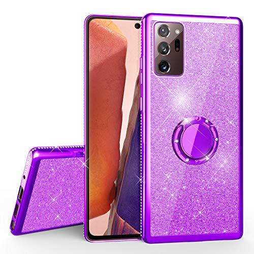 NALIA Carcasa con Anillo Compatible con Samsung Galaxy Note 20 Ultra 5G Funda, Purpurina Silicona Cubierta con 360 Grados Ring Holder, Diamante Glitter Case Resistente Kickstand, Color:Morado