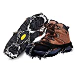 Traction Ice Cleats, 19 Spikes Crampons Ice Snow Grips Hiking Boots Shoe for Walking, Jogging, Climbing and Hiking on Ice and Snow