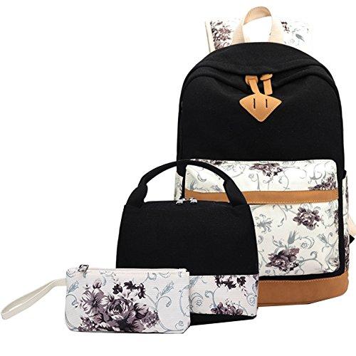 Rucksack set Mädchen Teenager Schulrucksack Canvas Laptop Backpack+Lunch Tasche+Mäppchen
