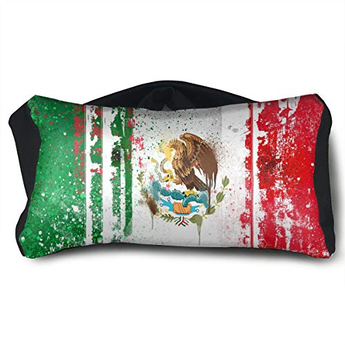 ChunLei Cool Mexican Flag Voyage Pillow 2 in 1 Travel Pillow and Eye Mask Portable Convertible Rest Neck Support Pillows Ergonomic Best for Airplanes, Car