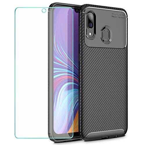 Wanxideng - Funda para Samsung Galaxy A40 + Protectore de Pantalla in Cristal Templado, [Textura de Fibra de Carbono] Carcasa de Armadura Resistente Funda de Silicona Suave y Delgada - Negro