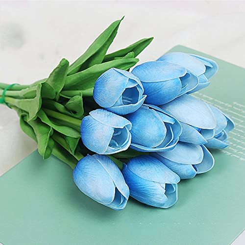 Sonze Tulipanes de simulación 10PCS, decoración de Seda de Mano-L,Ramos de Novia, arreglos Florales,Flor Falsa para Boda Decoración