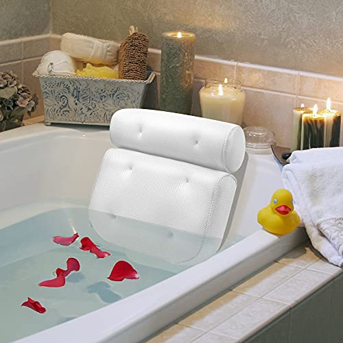 Bath Pillow, Bathtub Spa Pillow 14.5' x 13' With 4D Air Mesh Technology And 6 Strong Suction Cups, Helps Support Head, Back, Shoulder And Neck, Fits All Bathtub, Hot Tub And Home Spa