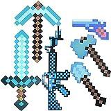 Diamond Sword Toys, juego de juguetes Minecraft 6 en 1, que incluye espada de diamante, pico, hacha de píxeles,pala, metralleta y pistola de píxeles,kit de aventura para fiestas de cumpleaños de niños