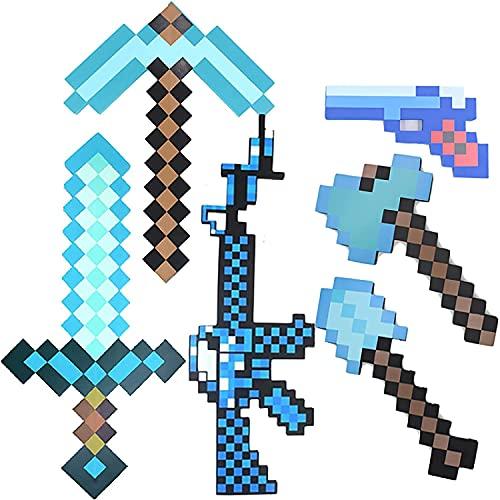 Diamond Sword Toys, juego de juguetes Minecraft 6 en 1, que incluye espada de diamante, pico, hacha de píxeles,pala, metralleta y pistola de píxeles,kit de aventura para fiestas de cumpleaños