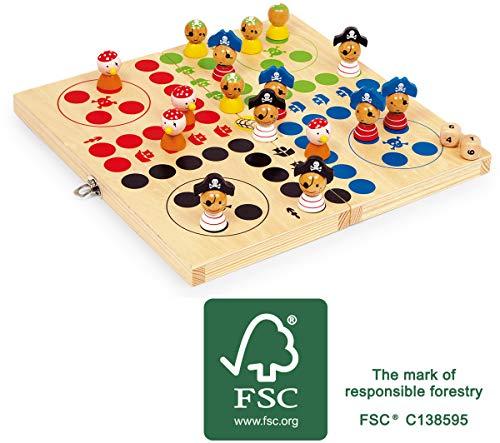 small foot 10951 Ludo Pirateninsel, aus FSC® 100%-zertifiziertem Holz, zusammenklappbar, ab 3 Jahren