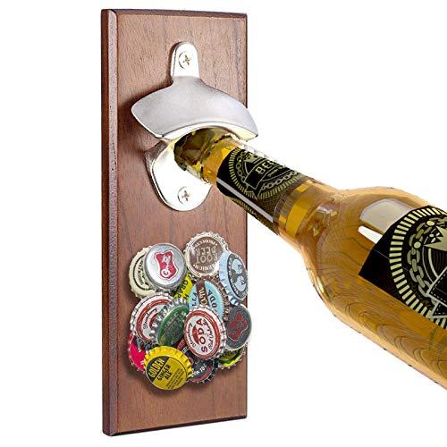 LecylankEr Magnetic Bottle Opener, Vintage Wooden Bottle Opener with Cap Catcher, Wall Bottle Opener for the Home, Beer Lovers Gift