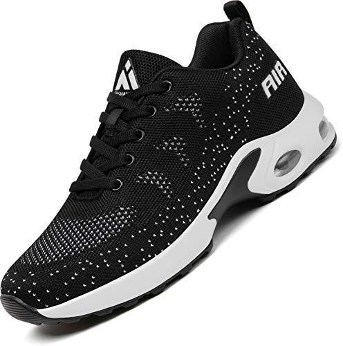 Mishansha Air Laufschuhe Damen Sportschuhe Straßenlaufschuhe Frauen Dämpfung Freizeitschuhe Leichte rutschfest Sneaker Schwarz A, Gr.39 EU