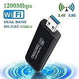 PiAEK USB3.0 Clé WiFi Dongle Clé WiFi Adaptateur 1200Mbps Mini Wireless Adaptateur Dual Band 2.4 G/5.8 G 802.11 AC USB WiFi Adaptateur Compatible avec Windows 7/8/8.1/10/Vista/Linux/Mac OS