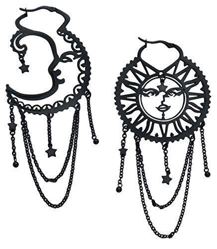 Wildcat Oldschool Sun Moon Hoops Frauen Ohrring schwarz