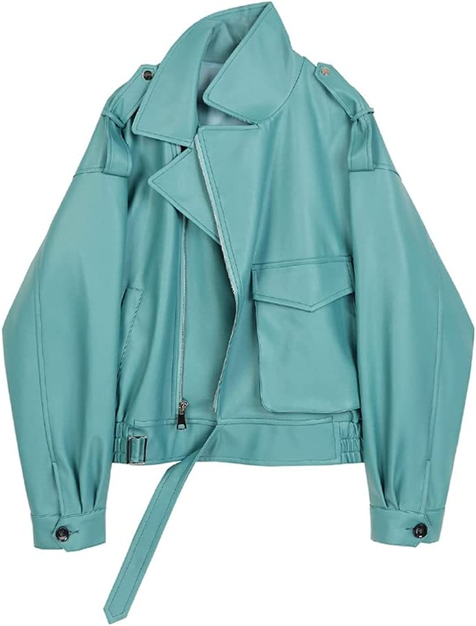ZSQAW Spring Vintage Streetwear Ladies Faux Leather Jacket Pockets Oversize Pu Leather Overcoat (Color : Blue, Size : M Code)