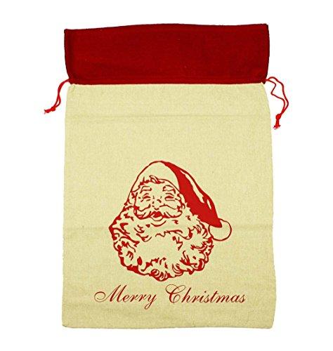 HAAC Navidad Saco de lino con saco Papá Noel Papá Noel Saco 70cm x 50cm para Navidad Navidad